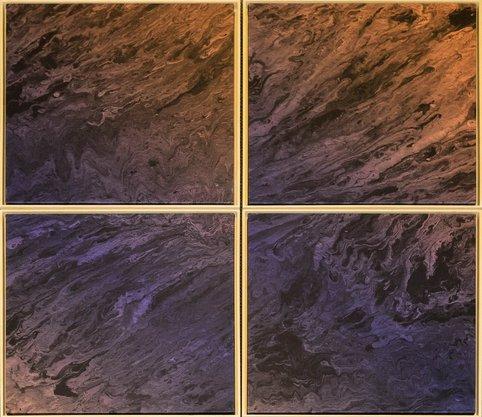 Impressão em Canvas - Conjunto Quatripticos - Abstrato Roxo e Marrom 103,5 CM x 125,5 CM