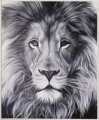 Impressão em Canvas - Rei da Floresta (Preto e Branco) 95,5 CM x 77 CM
