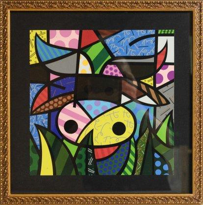 Quadro Decorativo Pronto Gravura Abstrato Cores 42 CM x 42 CM