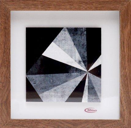 Quadro Pronto Abstrato Geométrico Preto e Branco 23 CM x 23 CM