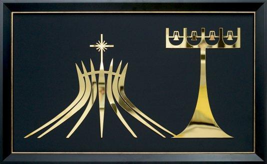 Quadro Pronto - Igreja Catedral (Brasília) Acrílico Dourado 49 CM x 80 CM