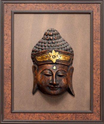Quadro Pronto - Máscara Rústica (Madeira) 45 CM x 37 CM