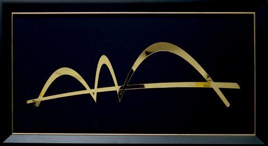Quadro Pronto - Pontel JK (Brasília) Acrílico Dourado 41 CM x 76 CM